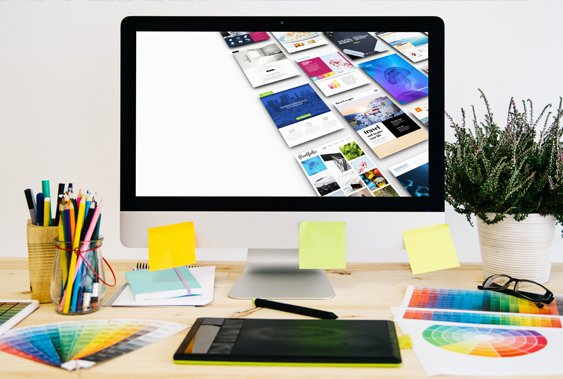 web design services carlow studio space with PC and colour charts